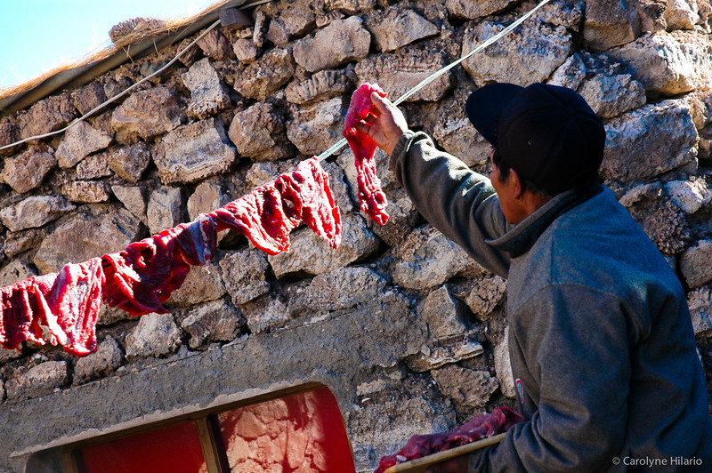 Drying Meat at Isla del Pescado<br /> Salar de Uyuni