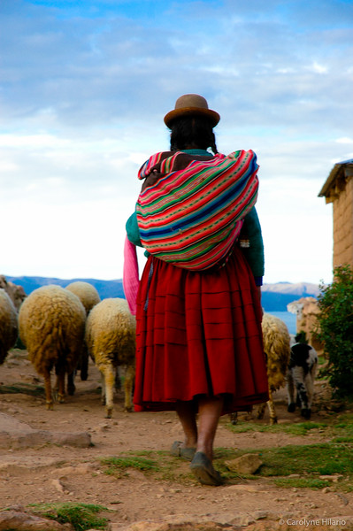 Shepherdess and Her Flock<br /> Isla del Sol (Island of the Sun)