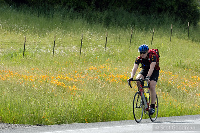 9:57 am, Saturday morning, Petaluma Hill Road at Hopi Trails, Santa Rosa. Mile 49. I left Lee at this point to photograph another event in Berkeley. Lee's been on his bike 4 hours. He'll be on his bike another 26. He'll ride some of Saturday by himself, then meet up with friends later in the day who will stay with him during the night riding hours.
