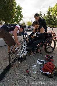 Greg, BORP's Cycling Program coordinator, got several BORP people and friends to enter a criterium in Pleasanton. A criterium is a closed circuit bicycle race (in this case the race went around one great big huge undeveloped industrial use block, with traffic blocked off), with 30 minutes (or other designated period) to complete as many laps as possible. There are separate races during the day for riders of different skill and age levels. Greg asked the organizers to include a hand cycle race, and got a whole bunch of people to enter.