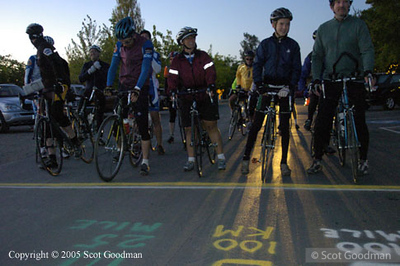 Starting line for the 100 mile group. 3 (100 miles, 100 kms, and 25 miles) of the 4 routes start here.