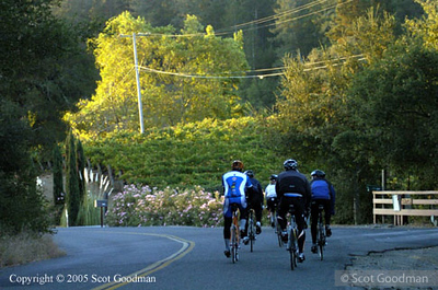 The first rays of sunlight greet the earliest riders.