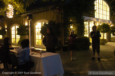 Early morning at the registration table in front of the winery's dining hall.