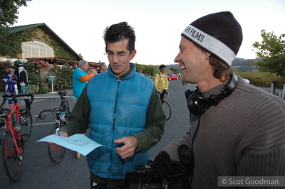 Greg shares some laughs and info with the film guys before the rush gets under way.