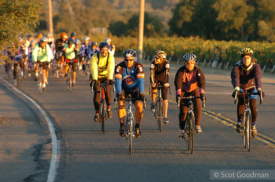 Ah, finally the sun comes up and the riders are on their way. These fundraisers will ride 100 miles today.