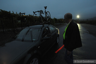 Dave guides arrivals into the parking lot in the early morning hours. Dave stayed out ALL morning and into the late afternoon working with the volunteer staff to make sure everyone could safely drive and park on the winery grounds.