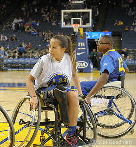 BORP's Juniors team plays in front of the Golden State Warriors home crowd, Oracle Arena, Oakland, California, Saturday, December 17, 2016. Made possible by the generous support of Stephen Curry, Coach Kerr, and the Golden State Warriors. The game was refereed by Jonathan Newman. BORP's Youth Sports Programs is directed by Trooper Johnson. BORP.org for more info. Photos: Copyright 2016 Scot Goodman.