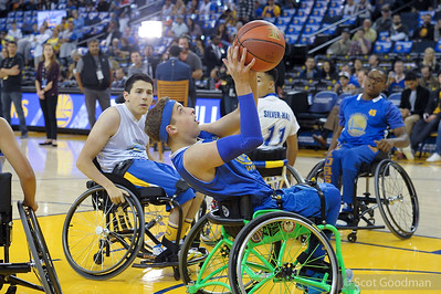 BORP Night at the Oracle Arena. BORP Junior Road Warriors play wheelchair basketball before tip off at the Chicago Bulls vs Warriors game, Friday, November 24, 2017, Oakland Ca. Photos Copyright Scot Goodman.