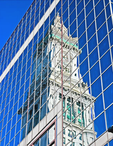 reflections, old and new,  color, Boston