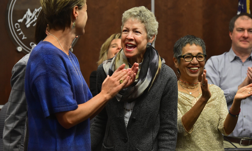 . Cindy Carlise, center, laughs with other new Boulder City Council members Jill Adler Grano, and Mirabai Kuk Nagle, and Cindy Carlise, at right, get sworn during a ceremony in the Boulder City Council Chambers in the city municipal building on Tuesday morning. Re-elected council member Mary Young is at right.  For more photos go to dailycamera.com Paul Aiken Staff Photographer Nov 21, 2017