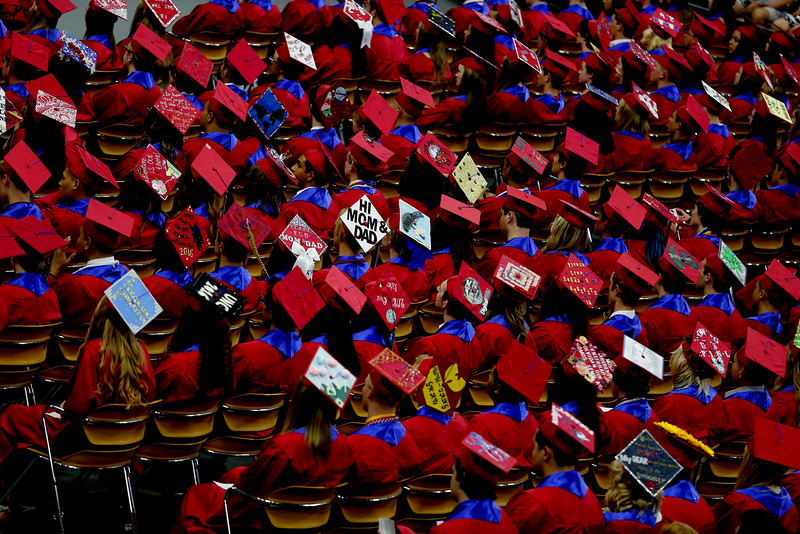 Sticking with the trends, several mortar boards were decorated with clever designs at the Centaurus High School 2016 graduation ceremony May 21 at the Coors Events Center.<br /> Photo by Philip B. Poston