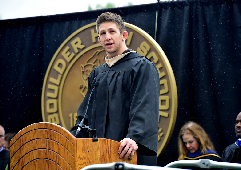. Max Wessell, state champion wrestler and Boulder High School class of 2010 gives the Commencement Address during graduation ceremonies on Recht Field on Saturday. For more photos go to dailycamera.com. Paul Aiken Staff Photographer