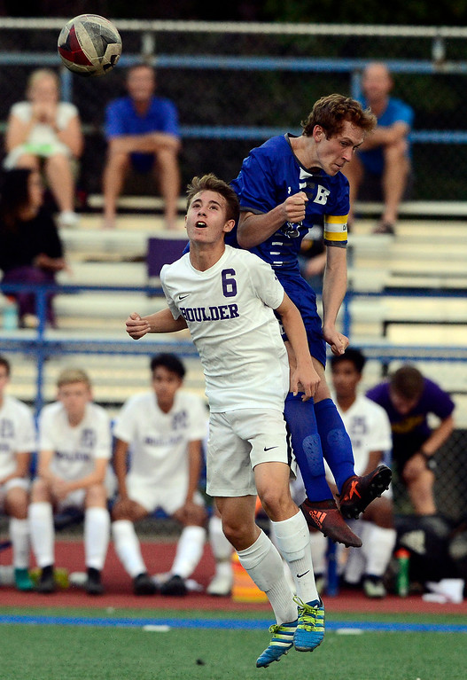 . BROOMFIELD, CO - SEPTEMBER 17 2018 Boulder High\'s Isaac Sherman and Broomfield High\'s Tanner Smith battle during their soccer game in Broomfield on Monday September 17, 2018. More photos Bocopreps.com  (Photo by Paul Aiken/Staff Photographer)
