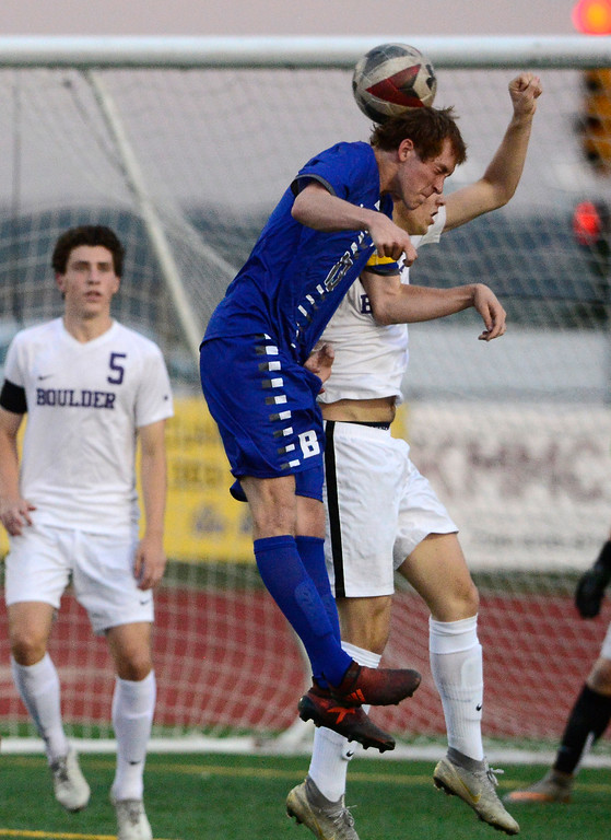 . BROOMFIELD, CO - SEPTEMBER 17 2018 Boulder High\'s Jesse Bacardi and Broomfield High\'s Tanner Smith fight for a header during their soccer game in Broomfield on Monday September 17, 2018. More photos Bocopreps.com  (Photo by Paul Aiken/Staff Photographer)