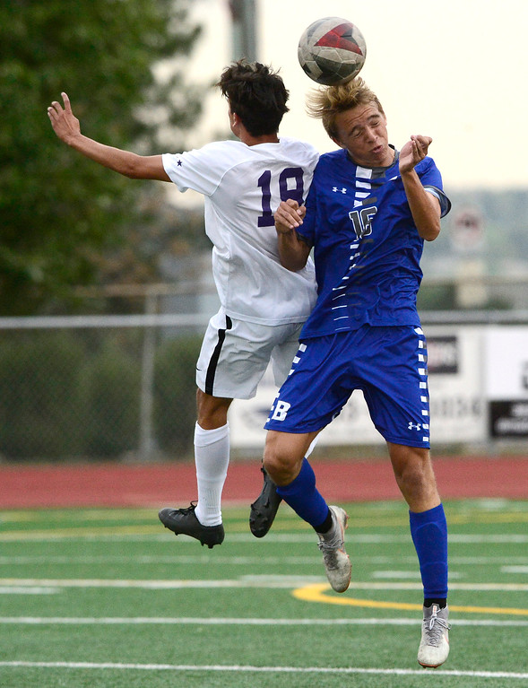 . BROOMFIELD, CO - SEPTEMBER 17 2018 Boulder High\'s Fabian Valencia and Broomfield High\'s Dani Harsanyi battle for possession during their soccer game in Broomfield on Monday September 17, 2018. More photos Bocopreps.com  (Photo by Paul Aiken/Staff Photographer)