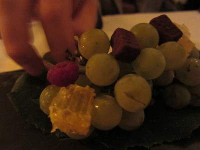 Wine grapes with honeycomb