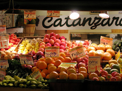 Produce stand at Pike Place Market (Seattle, WA)