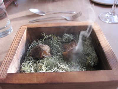 Off came the lid and out came a puff of smoke.  These are slow smoked sunflower roots, cooked over a period of days in alder smoke with some moss.
