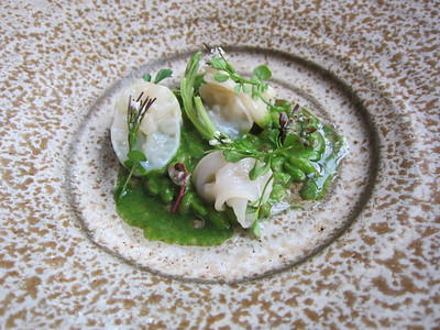 Finally here's the first course!  Geoduck with organic grains and watercress puree