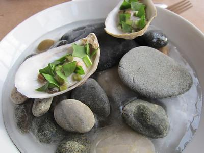 Oysters lightly pickled in sauerkraut brine