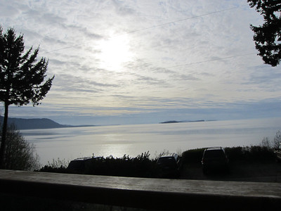 View off the porch at Willows Inn, that's Orcas Island on the left with Matia, Clark, Patos and Sucia Islands visible on the right