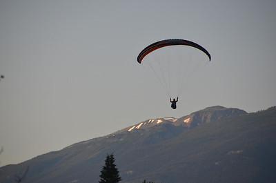 Para-glider making an early morning landing in Golden B.C.