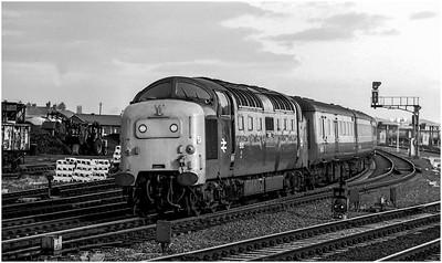 "55013 ""The Black Watch"" at Heaton CS on the 0950 Edinburgh-Plymouth. 17th November 1979"