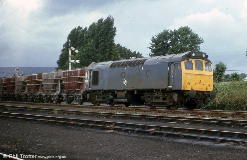 25141 with cement wagons at Croes Newydd, Wrexham, on 30th July 1979.
