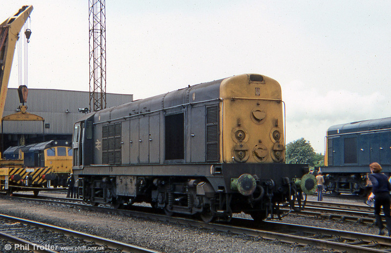 A grubby 20071 on display at Toton Open Day on 9th June 1979.