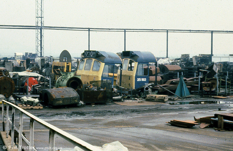 The cabs of 25192 await disposal at Derby works on 23rd February 1980. Garden shed, anyone?