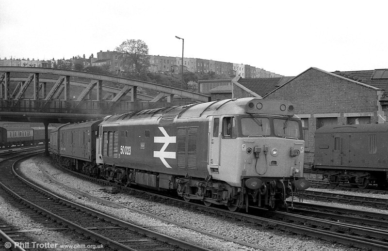 Another now-preserved 'Hoover' class 50, no. 50023 'Howe' at Bristol Temple Meads on a parcels train.