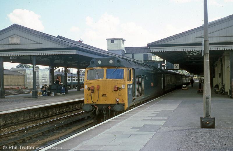 50047 'Swiftsure' calls at Newton Abbot.