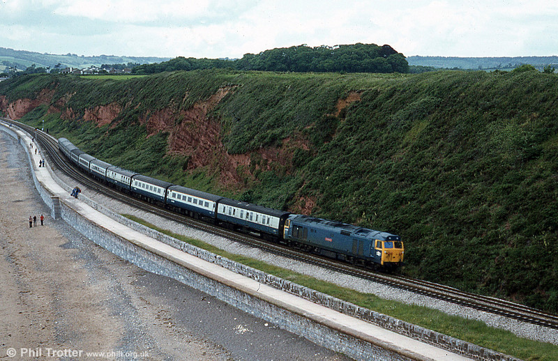A classic location: a class 50 passes Langstone Rock, Dawlish Warren with a service for London Paddington.