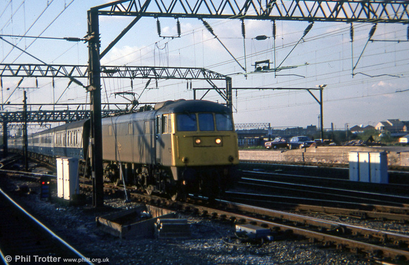 A class 85 at Crewe. Loco unknown.