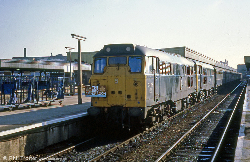 31118 and 31158 at Cardiff Central on 22nd March 1980 with Hertfordshire Railtours 'The Red Dragon' tour 1Z33 from Paddington which would go forward to Craven Arms via the Vale of Glamorgan, Swansea District and Central Wales lines behind 37179 & 37182, before returning to Newport. The 31s then took the tour to Blaenavon and returned it to Paddington. 22nd March 1980.