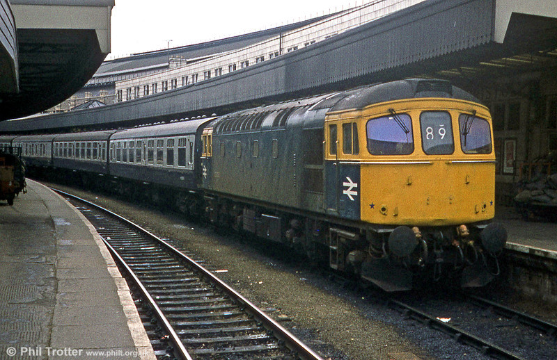 A Portsmouth Harbour service, headed by 33 001, waiting to depart from Bristol Temple Meads on 19th April, 1981.