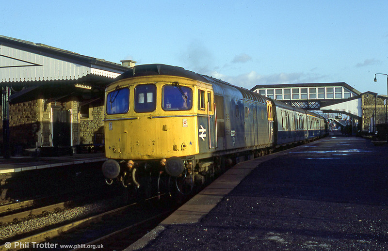 It's 1509 on 17th January 1984 and 33012 departs from Llanelli with a Swansea to Milford Haven service.