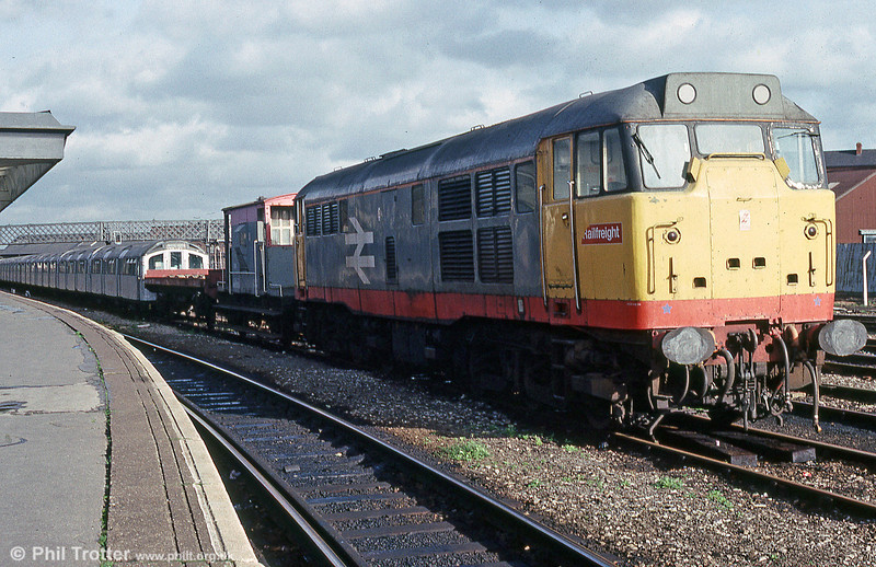 Derby, November 1989, with a train of refurbished Underground stock being returned to London.
