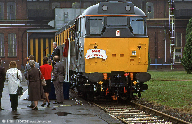 Dutch liveried 31116 is named 'RAIL 1981-1991' at its naming ceremony at Doncaster works on 26th October 1991.