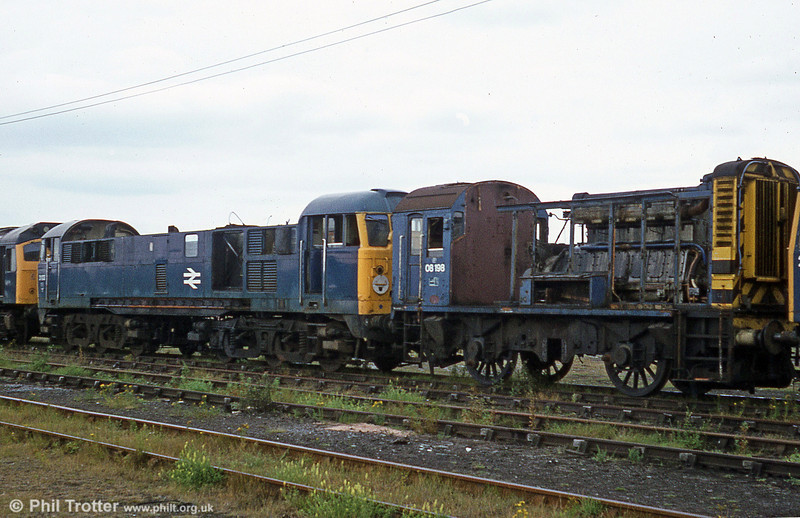 Partly dismantled 31103 with 08198 at BREL, Swindon on 19th August 1980. The job was completed in February 1983.