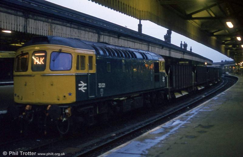 33021 on a ballast train at Salisbury on 23rd February 1981.