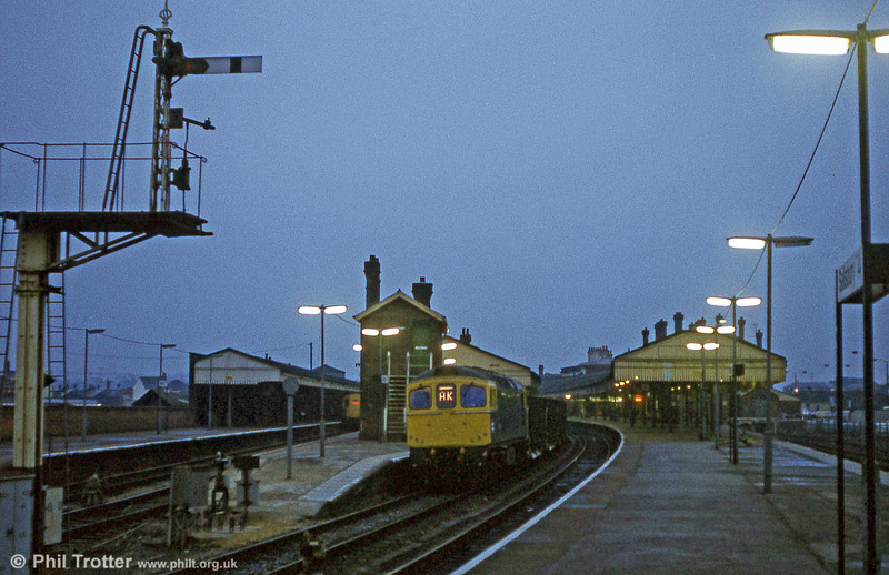 Railways at night take on a totally different ambience. 33021 on a ballast train at Salisbury on 23rd February 1981.