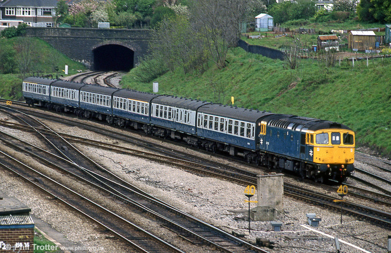33038 passes Gaer Junction with a service from Cardiff Central in 1981.