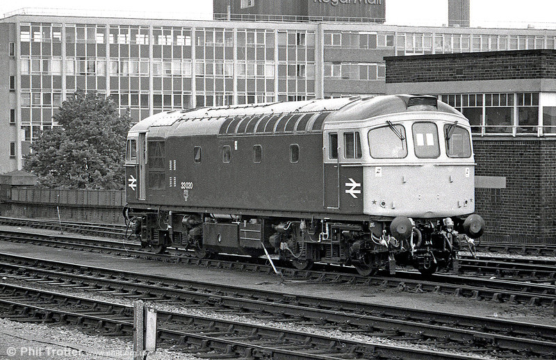 Class 33 no. 33020 at Bristol Temple Meads in the mid 1980s. It met its fate at Stewarts Lane in January 1997.