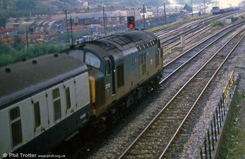 37176 on a service from West Wales waits at Swansea Loop East Junction in September 1985. Note the three class 03s in Maliphant sidings.