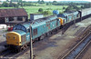 37308 and 37303 stabled at Severn Tunnel Junction with the Severn Tunnel emergency train during 1986. 37308 has been preserved.