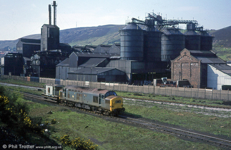The decline in industry under the Thatcher government, although regrettable, did have some environmental benefits. This was the ugly 'Carbon Black' plant at Danygraig, Swansea being passed by 37301 on 14th April 1981. The plant was later demolished and a playing field now occupies the site.
