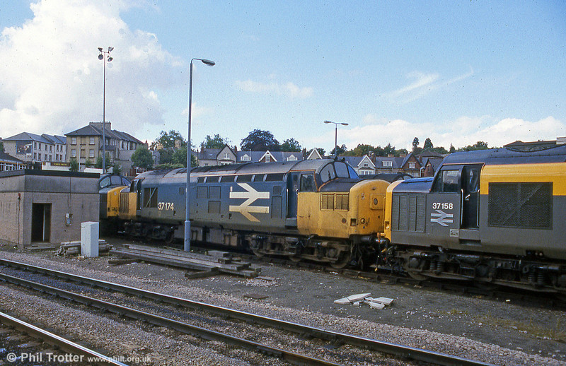 37174 and 37158 stabled at Godfrey Road, Newport on 23rd September 1990.