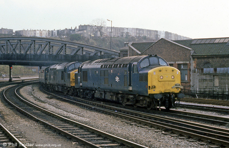 37189 and 37088 arrive at Bristol Temple Meads with the Plymouth to BTM section of RESL's 'The Cornishman' railtour on 26th January 1985.