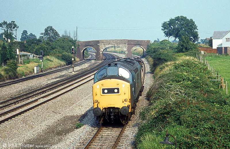 37227 passes Undy with a brakevan on 21st August 1980.